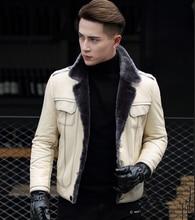Новый бренд для мужчин из натуральной овечьей кожи с натуральной шерсти внутри пальто куртки мотоциклетные белый черный плюс размеры XXXXL 3XL