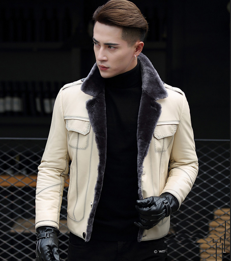 Nueva marca de piel de oveja auténtica para hombre con abrigo de lana Natural forrado chaquetas de motocicleta blanco negro talla grande XXXXL 3XL