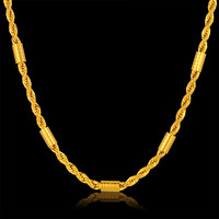 Fashion Thick Gold Rope Chain Necklace Men Bohemia 18k Real Gold Plated Body Chain Jewelry Wholesale