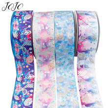 JOJO BOWS 75mm 2y Grosgrain Ribbon Printed Bronzing Mermaid Gift Card Wrapping Festival Party Decoration DIY Hair Bows Materials