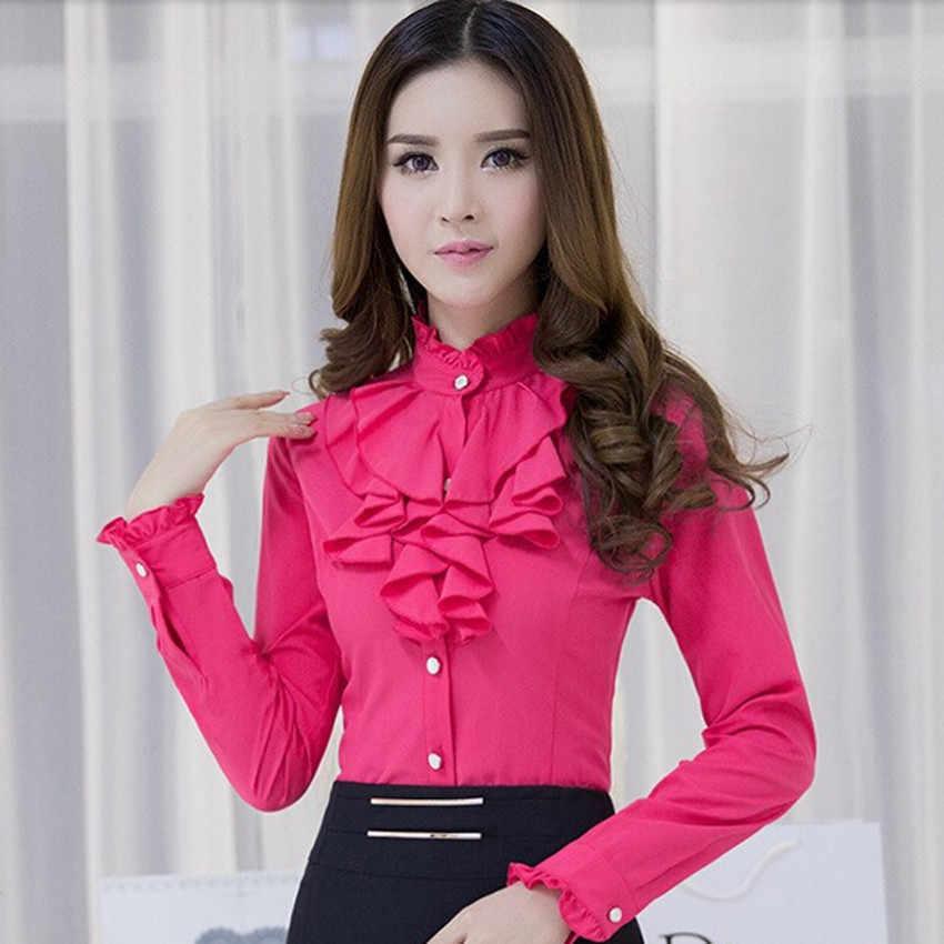 e2424691381 ... Модная одежда женская рубашка с оборками с длинными рукавами  элегантное