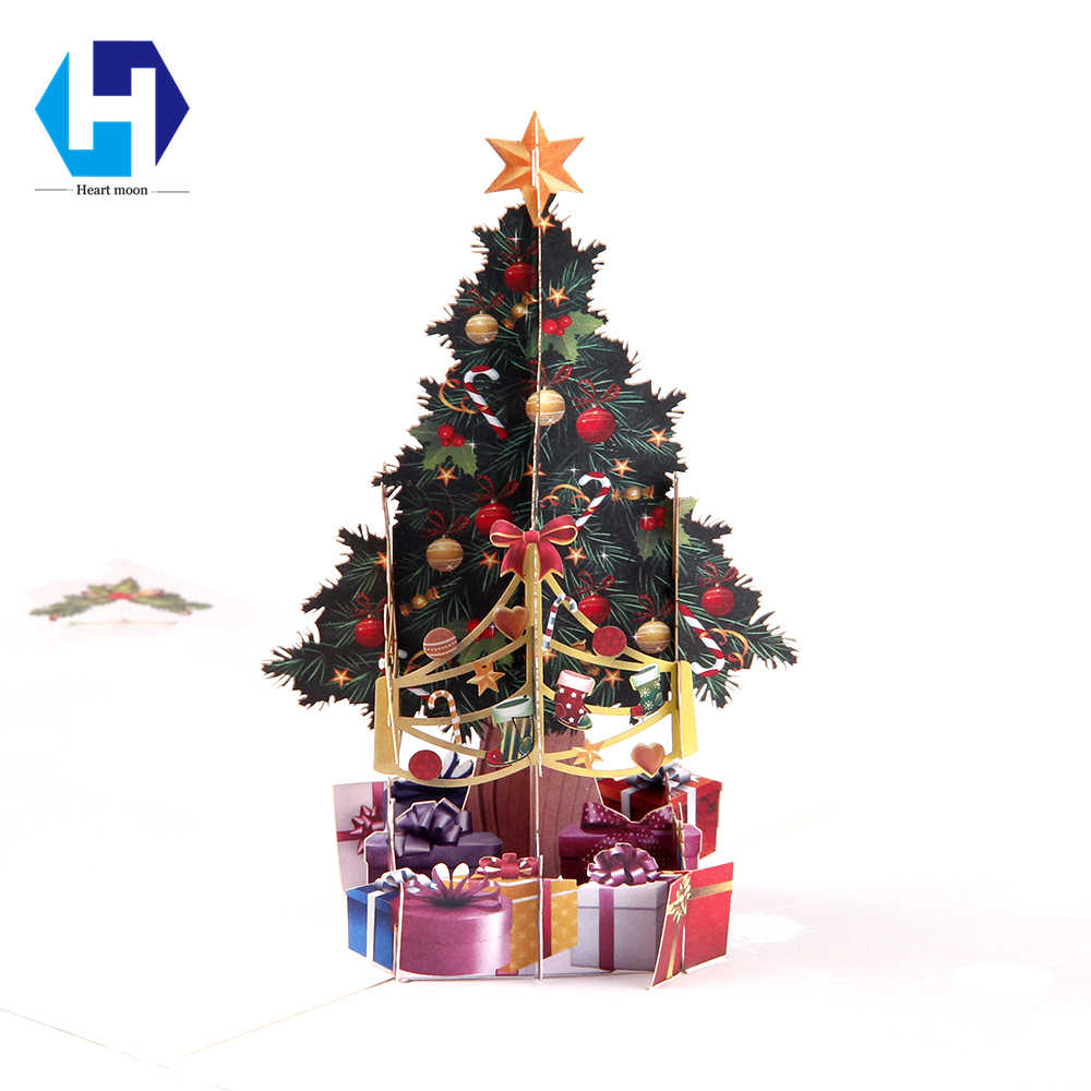 Merry Christmas Tree 3d Pop Up Greeting Card Laser Cut Envelope Postcard Vintage Customized Handmade Kirigami Gift New Year