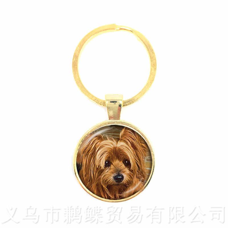 Adorável Cão Chaveiro 25 MILÍMETROS Rodada Cabochão de Vidro Artesanal Animais Chaveiro Criativo Presente Personalizado Personalizar O Seu Amado Animal de Estimação