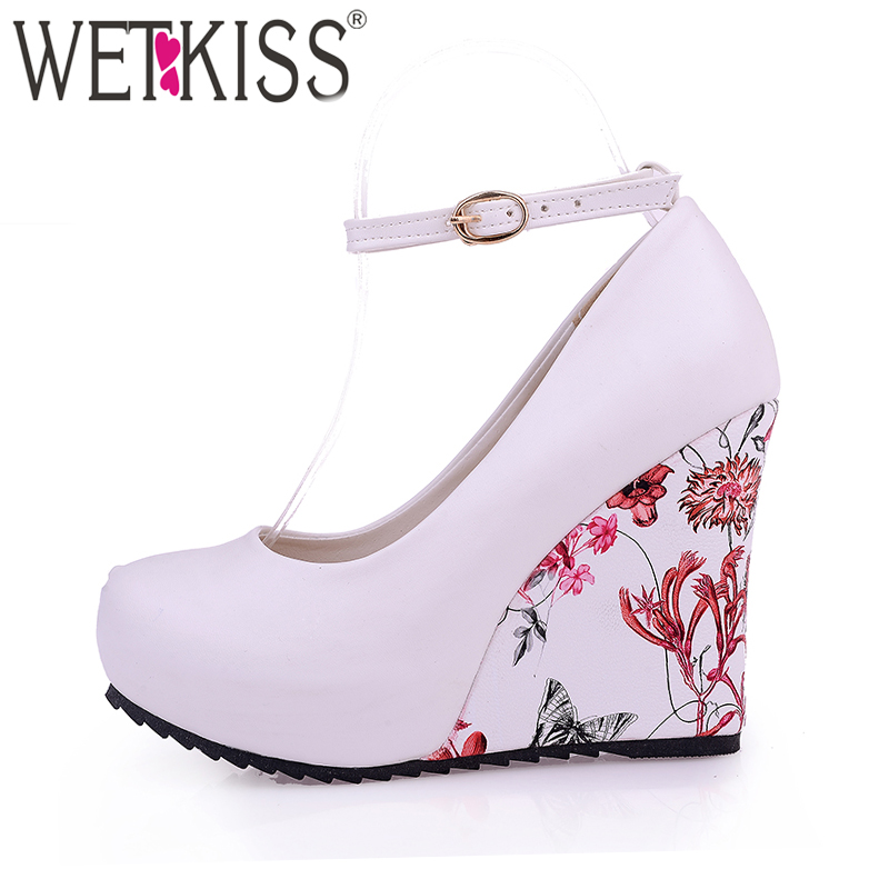 WETKISS Fashion Ankle Strap High Wedges Platform Pumps For Women Casual Elegant Flower Print Wedges Platform Shoes mary jane