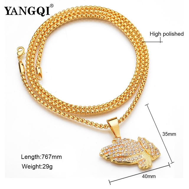 YANGQI HipHop Full Rhinestone Hand Shape Pendant Necklace Women Men Gold Color Stainless Steel Religion Prayer Necklace Jewelry 4