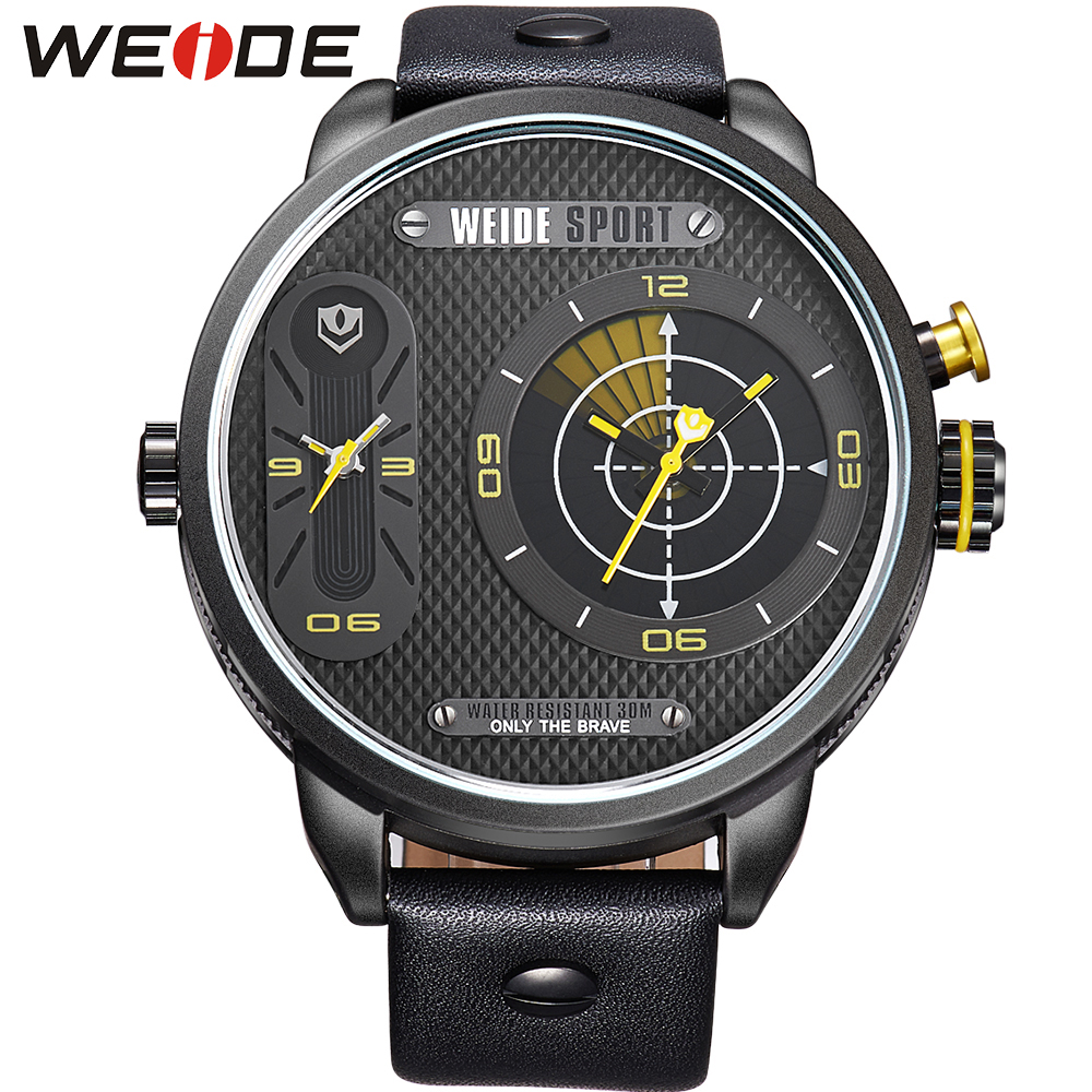 ФОТО WEIDE Original Brand Fashion Big Dial Watches For Men Luxury Steel Caseback Black Leather Strap 30m Waterproof Wrist Watches