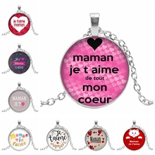 2019 New Hot Round Glass Convex Pendant French Je Taime Papa Et Maman Pattern Dome Necklace Jewelry
