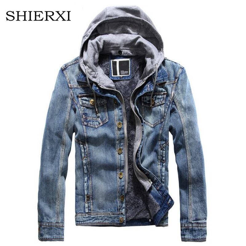 Men winter suit jackets coats men thick Velvet Casual Jeans Mens wear winter jacket men Denim