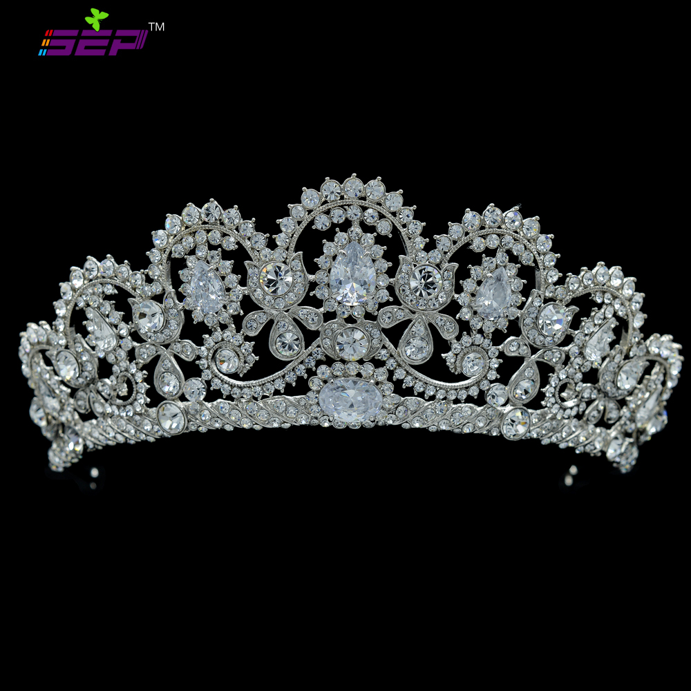 Real Austrian Crystals CZ Zircon Tiara Crown for Wedding Bridal Hair Accessories Jewelry for Girl Prom