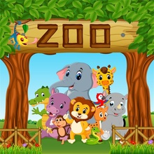Laeacco Baby Cartoon Animal Zoo Safari Party Photographic Backgrounds Customized Photography Backdrops For Photo Studio