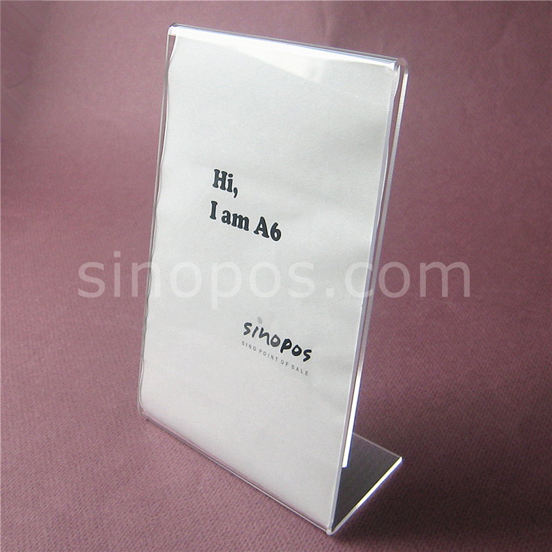 acrylic sign holder stand a6 desktop l display table rack clear plastic advertising photo