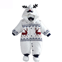 Winter Newborn Clothes Christmas Deer Baby Boy Warm Infant Romper Kid Jumpsuit Hooded Infant Clothes Outfit
