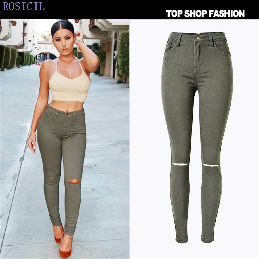 ROSICIL Woman Ripped Hole Skinny Jeans Hot Women Jeans Femme High Waist Cotton Denim Pencil Pants TSL061# rosicil hot sale women jeans pencil pants fashion hole ripped femme denim pants skinny low waist female trousers sl028