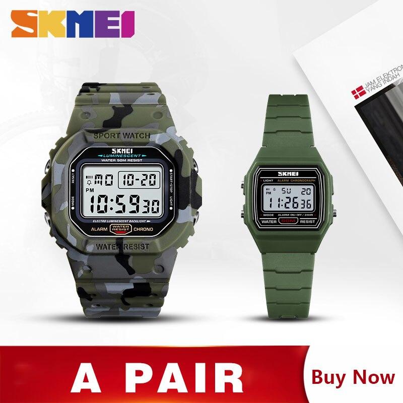 SKMEI Sport montre décontracté montres numériques hommes chronomètre Date semaine heure montre homme horloge avec enfants montre 1471 1485 ensemble