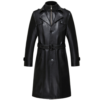 007 New Fashion Men Winter Clothes Genuine Leather Coat Sheepskin Men Leather Long Trench Coat