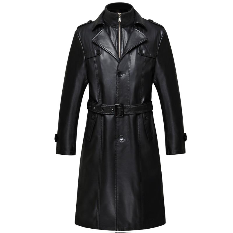 007 Новая модная зимняя мужская одежда из натуральной кожи пальто из овчины мужской кожаный длинный плащ