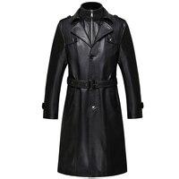 6688 Новая мода Для мужчин Зимняя одежда из натуральной кожаные пальто ExSheepskin Для мужчин кожа Длинный плащ пальто