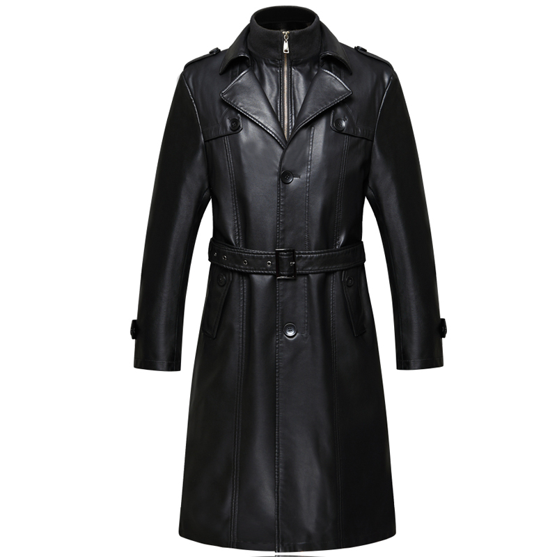 6688 New Fashion Men Winter Clothes Genuine Leather Coat ExSheepskin Men Leather Long Trench Coat