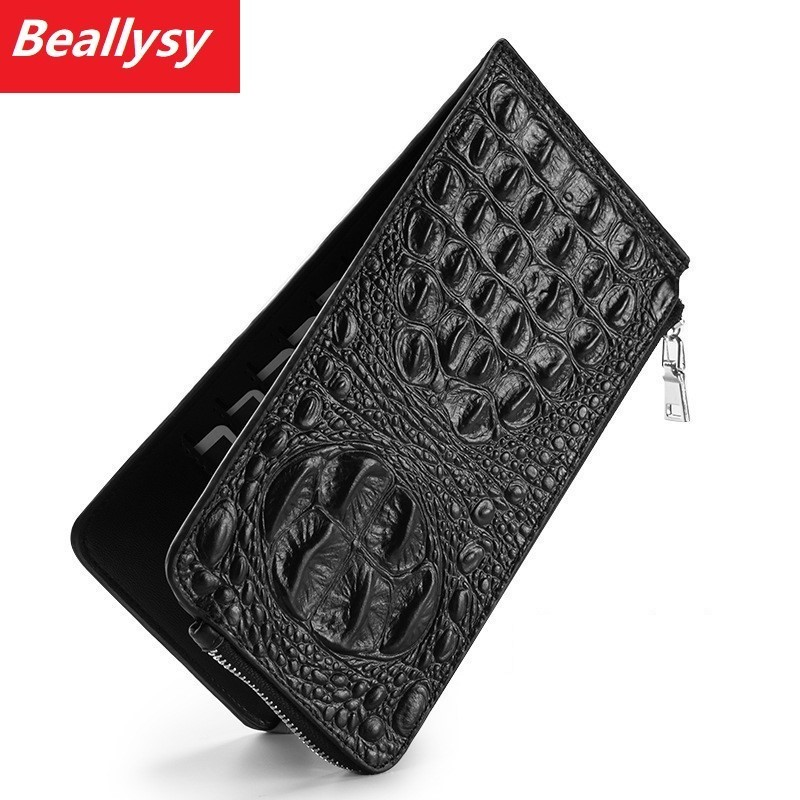 Fashion Alligator Men Long Leather Wallet Women Card Purse Male Purse Lady Clutch Carteras Cell Phone Pocket 20 Card Holder