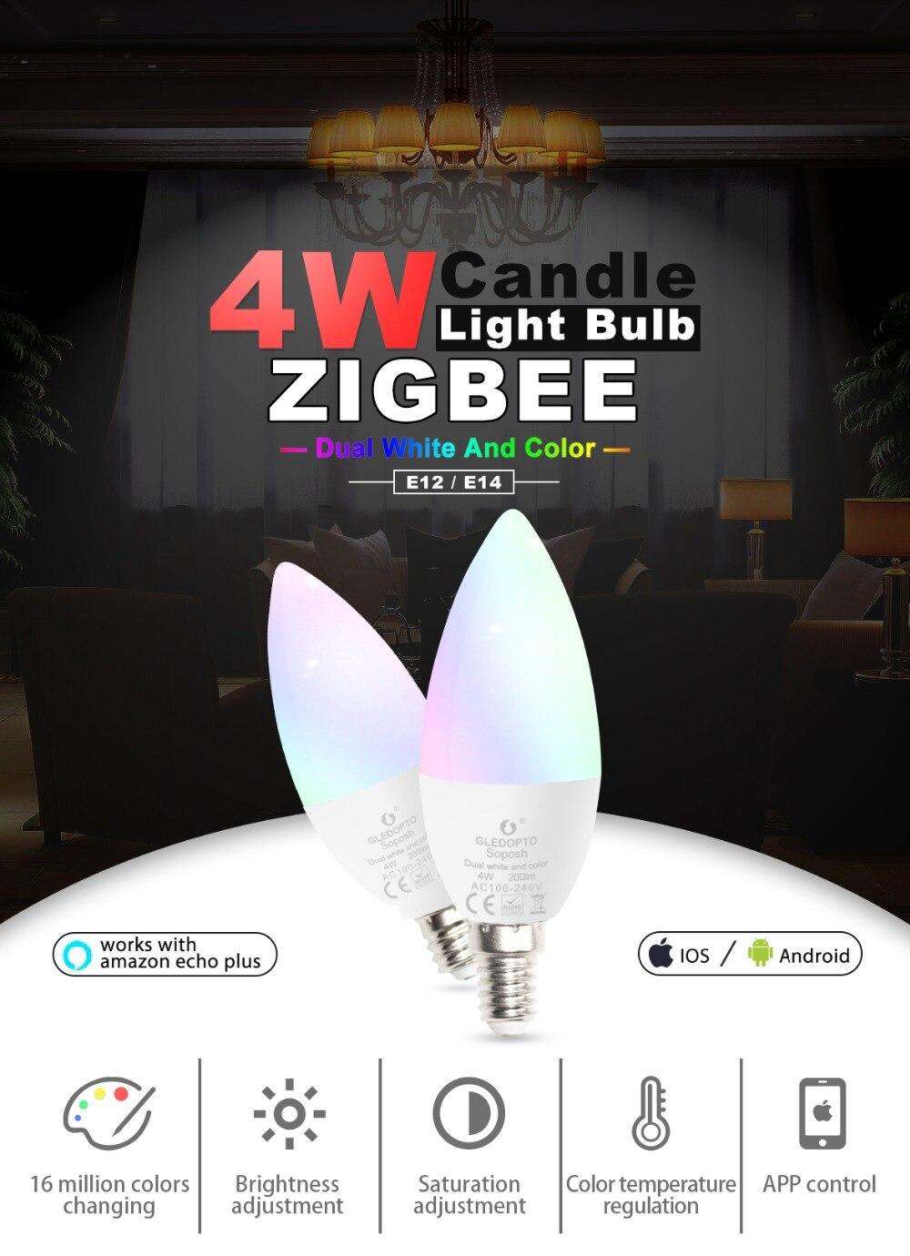 Купить с кэшбэком Zigbee hub Smart led light bulb rgbw/rgbww smart APP control Dimming E14 By Zigbee Echo plus Lightify Hub,Homee,Smart Friends