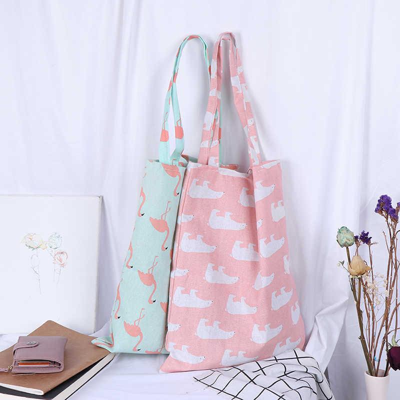 1 個エコハイ容量食料品の袋動物プリントショッピングトートビーチハンドバッグコットンリネン女性カジュアル再利用可能なショッピングバッグ
