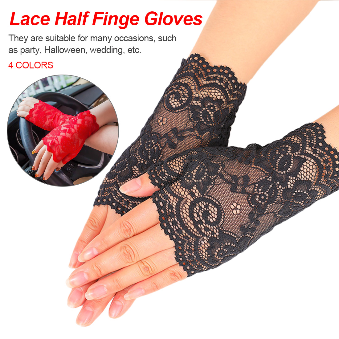 Long Fingerless Women Sexy Lace Gloves 2019 Winter White Black Ladies Half Finger Fishnet Gloves Heated Mesh Mitten