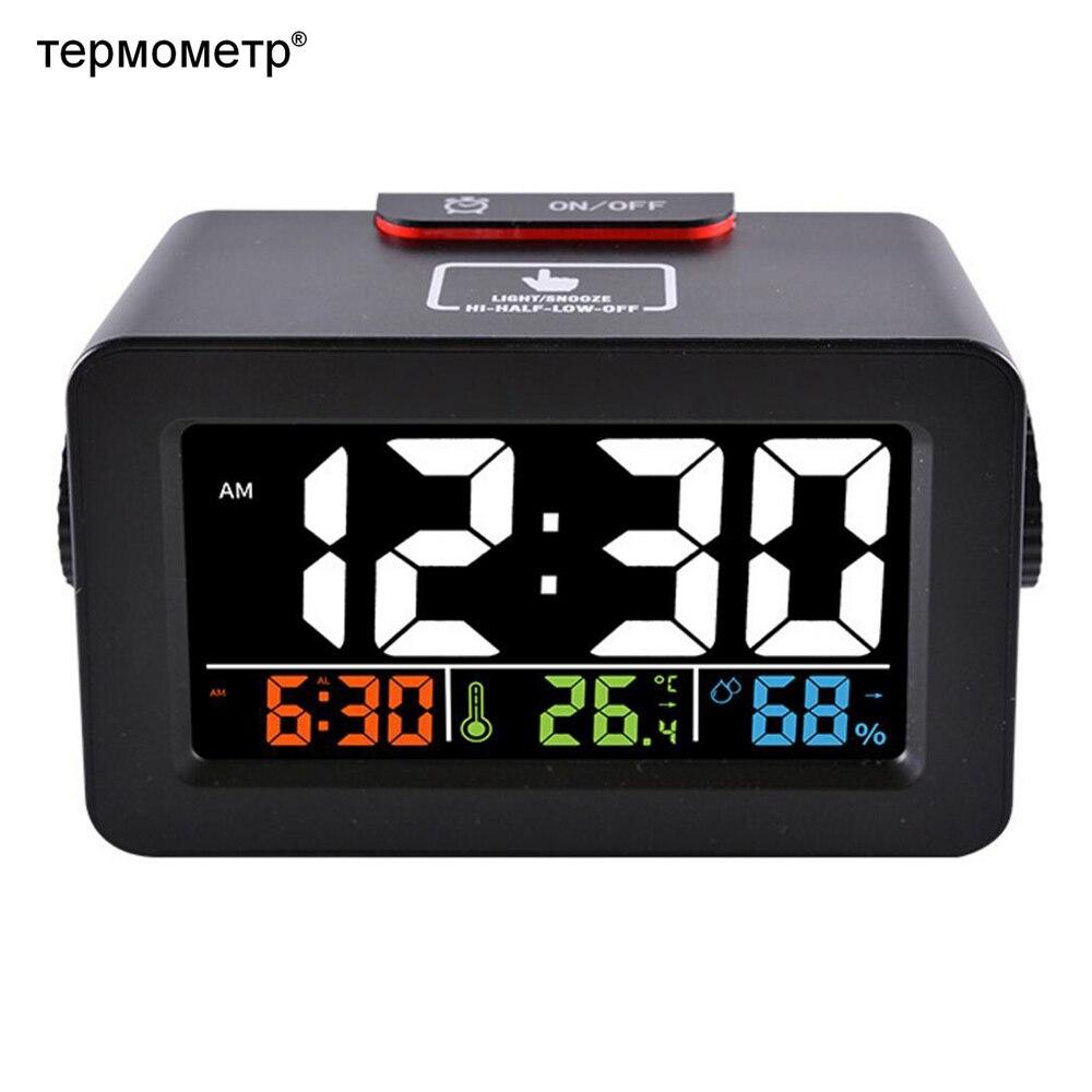 Cadeau Idée De Chevet Réveil Numérique Réveil avec Thermomètre Hygromètre Humidité Température Table Horloge De Bureau Téléphone Chargeur