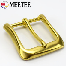Meetee ID 40mm Pure Copper Brass Belt Pin Buckle for 38-39mm Leather Women Men Pants Jeans Craft Accessories AP662