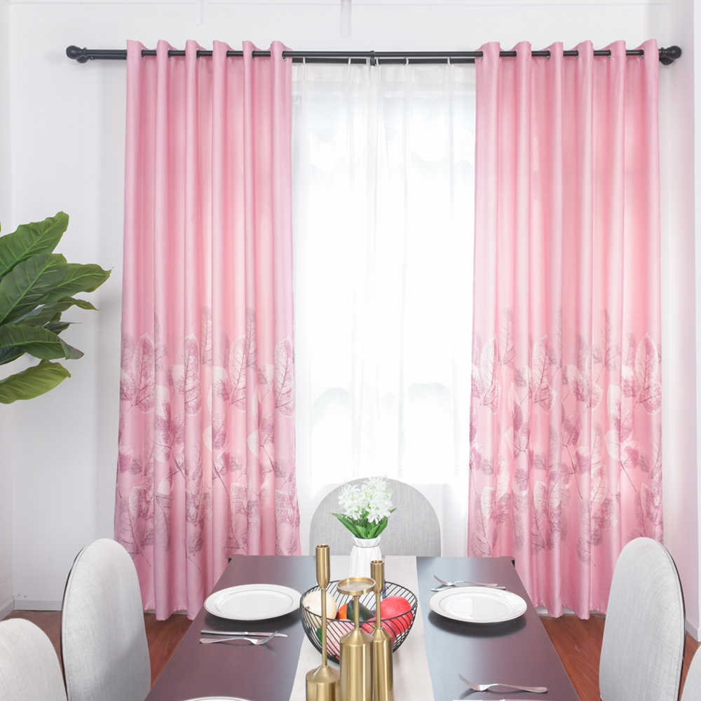 Urijk Pink Printed Curtains Modern Sheer Luxury Blackout Room Curtains For Living Room Bedroom Kids Children Room Home