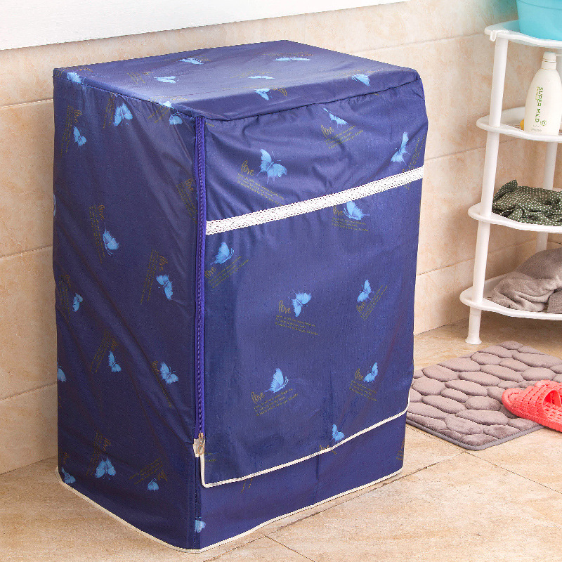Printed Butterfly Blue Oxford Cloth Dust Cover for Home Drum Washing Machine Protector Case Front Opening Roller Type FQ001