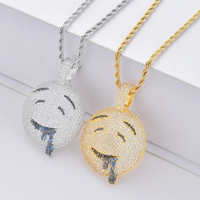 Funny Character Emoji Iced Out CZ Necklaces & Pendants Men's Hip Hop Bling Cubic Zircon Charm Chains Jewelry Necklaces Gifts