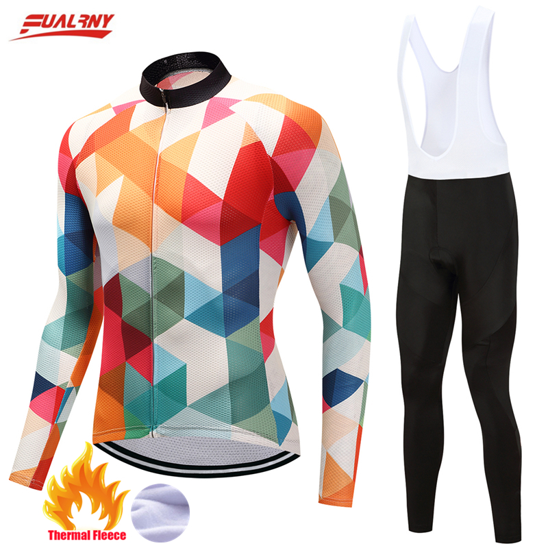 Fualrny Long Sleeve Thermal Fleece Cycling Jersey Set Winter MTB Bicycle Clothes Maillot Ropa Ciclismo Invierno Bike Clothing