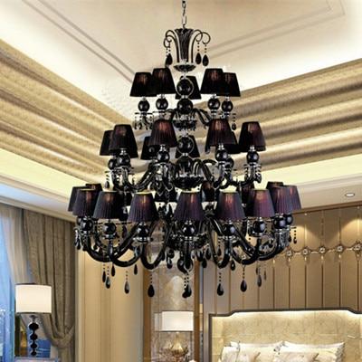 Star Hotel big 30-arm black glass chandelier hanging lamp with lampshade for hotel hall black chandelier Large lustre de cristal