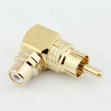 цена на 30pcs/lot  RCA Male To Right-Angle Female Converter For Gold Snake L AV Connector Lotus 90 Degrees Elbow