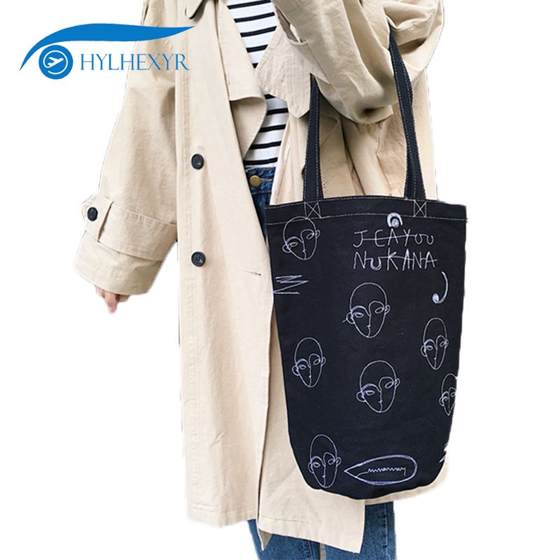 1 PCS Face Embroidery Tote Bucket Shaped Cloth Shoulder Bags Ladies Handbags Canvas Shopping Travel