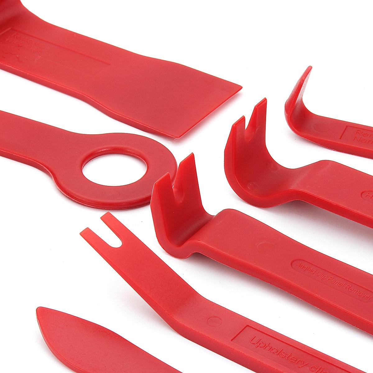 15pcs Meter Door Molding Remover Panel Trim Clip Removal Tools Kit Red Set Car Repair Tool