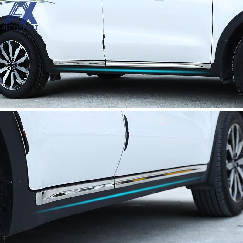 4x Stainless Steel Side door Side Molding Trim For Hyundai Elantra 2017 2018