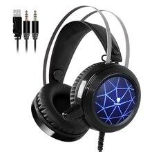 Com fio Jogo de Computador Fone De Ouvido Fones De Ouvido Com Microfone Gaming Headphone Graves Profundos fone de Ouvido LEVOU Luz Casque Gamer para PC