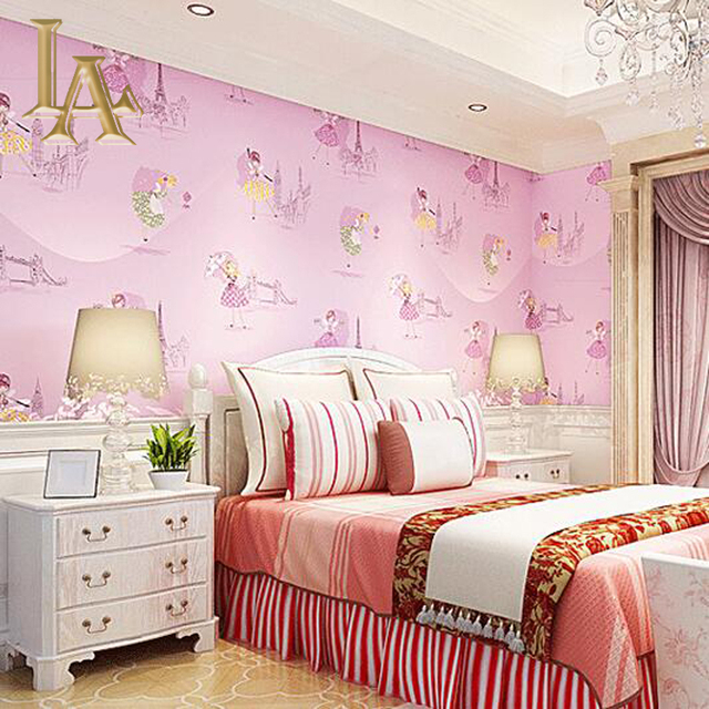 yellow purple blue pink cartoon girls bedroom wallpaper for walls