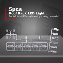 5 LED Light Roof Rack Light Kits for 1/8 1/10 RC Crawler Racing Rally Touring Cars Car Model Accessories Sliver 5v 7 4v light bar super bright for 1 10 rc crawler super bright 12led light bar roof lamp for 1 10 crawler car