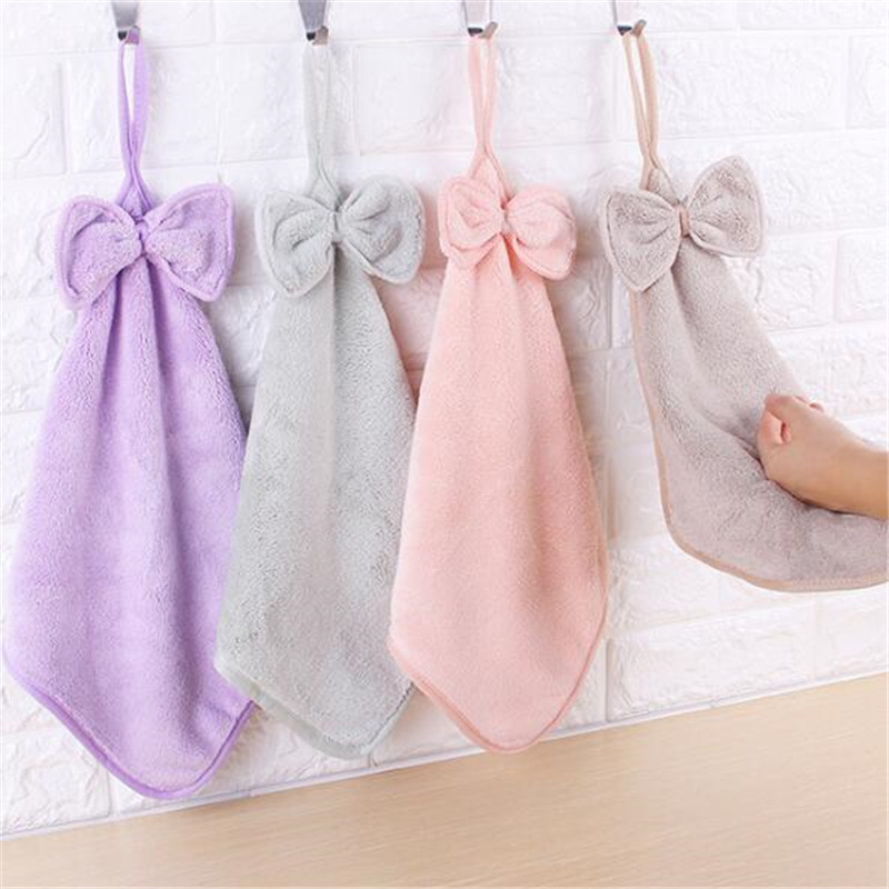 Home Kitchen Soft Hand Towel Plush Hanging Wipe Bathing Towel