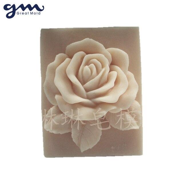 Grand moule à savon en Silicone Rose 3D | Fleur, moule à gâteau au chocolat, moule de décoration, moules en Silicone de cuisson