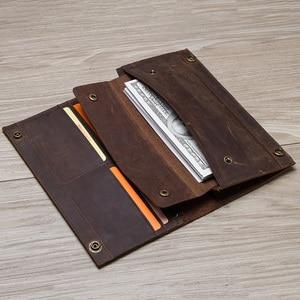 Image 3 - İletİşİm çılgın at hakiki deri erkek uzun cüzdan için cep telefonu vintage çile debriyaj cüzdan erkek kart sahipleri ince çanta