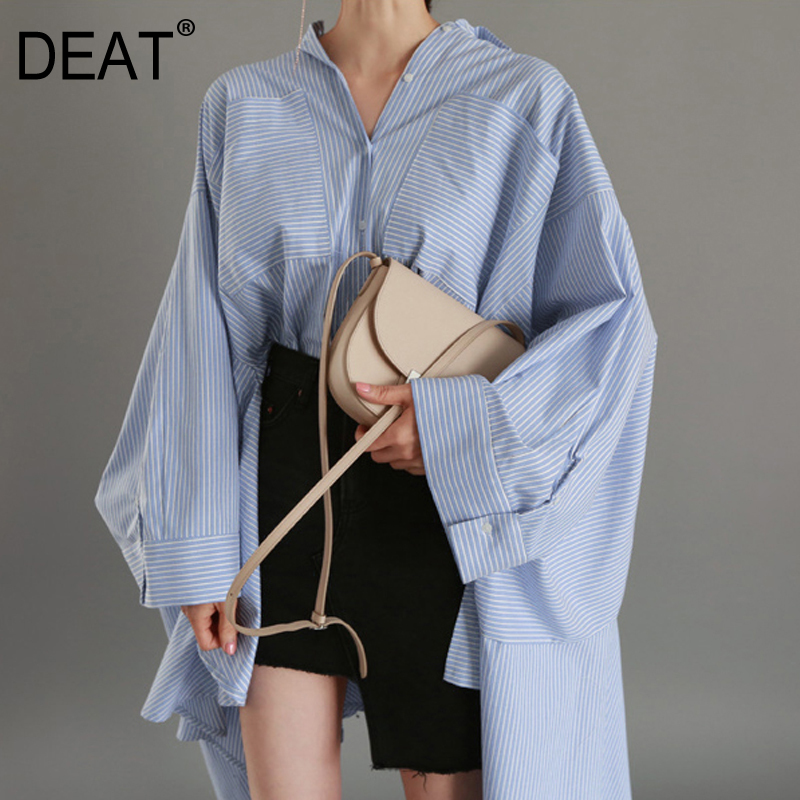 DEAT 2018 New Fashion Women Clothes Turn down Collar Asymmetrical Stiped Loose Bat Sleeve lantern sleeve