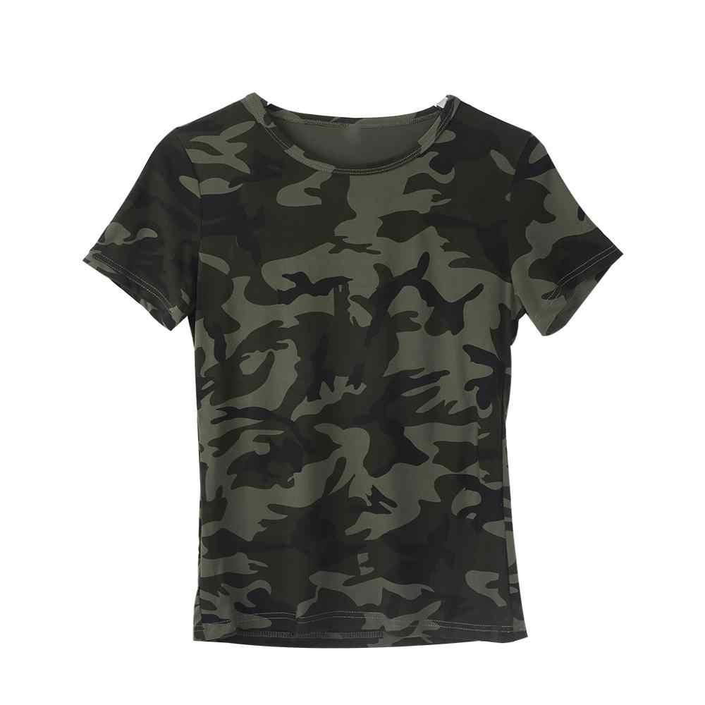 Damski nadruk kamuflaż t-shirt O-Neck topy slim Cotton Blend Soft