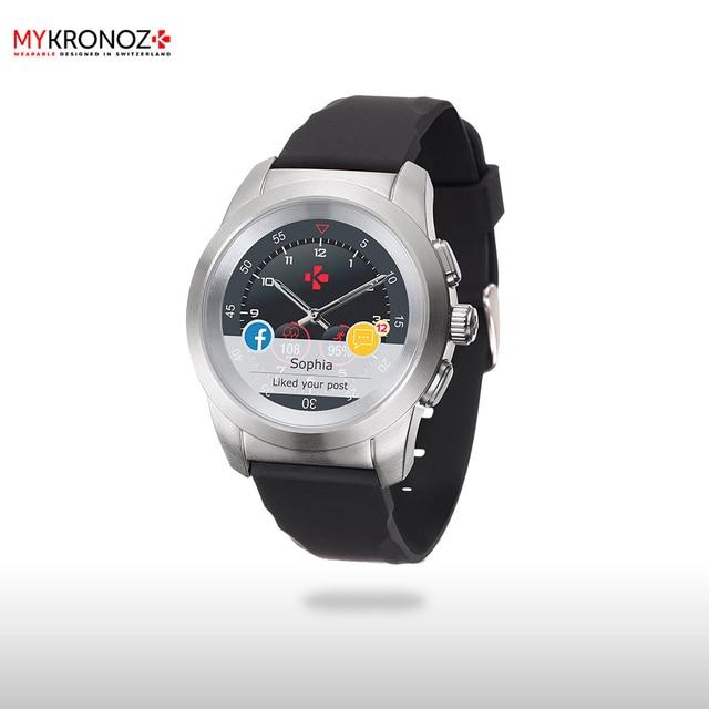 Смарт часы MyKronoz гибридные ZeTime Original Regular цвет матовое серебро/черный