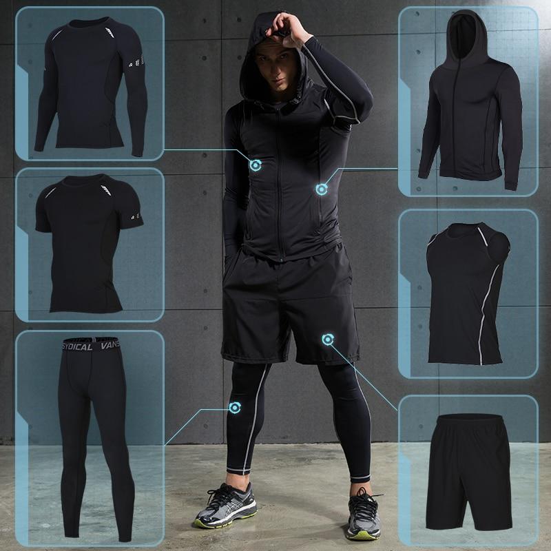 2017 hiver en plein air séchage rapide ensembles de course hommes Compression Sports costumes Jogging basket ball collants vêtements Gym Fitness Sportswear