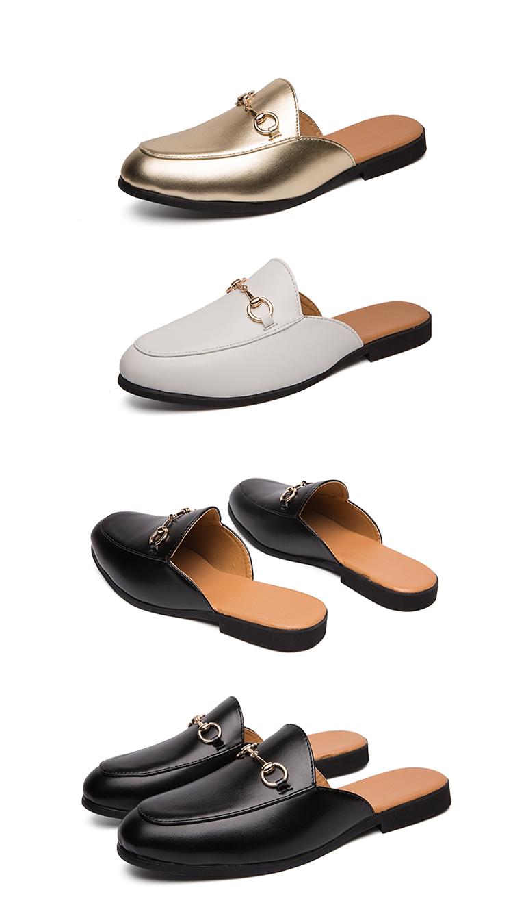 Men Backless dress leather slipper shoes Men unisex Bee prints Horseshoe buckle Casual business wedding Leather shoes women 23