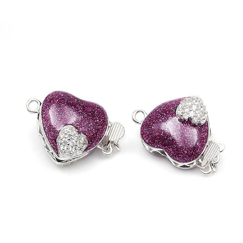 Forme de coeur émaillé violet Micro Pave Zircon boîte en argent Sterling fermoirs crochets résultats de bijoux pour collier de perles SC-BC221 - 5