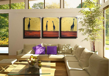 Free shipping Lovely Giraffes Handpainted High Quality Animal Oil Painting On Canvas Wall Art Best Artist For Living Room Decor